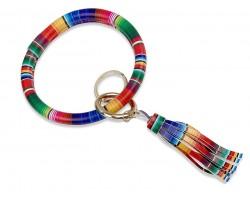 Multi Serape Print Tassel Keychain Ring Bracelet