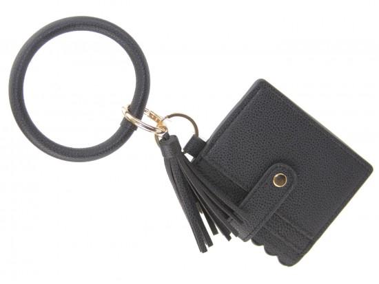 Black Keychain Wallet Ring Bracelet
