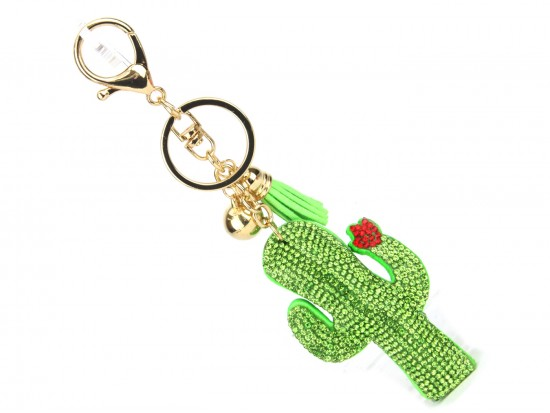Green Crystal Cactus & Flower Key Chain