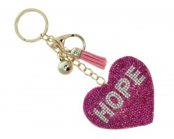 Pink Crystal Hope Heart Key Chain