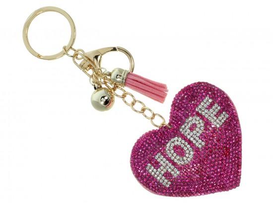 Pink Crystal Hope Heart Key Chain