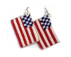 USA Flag Seed Bead Hook Earrings