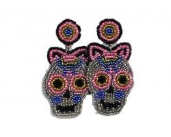 Multi Sugar Skull Seed Bead Hook Earrings