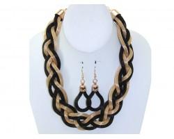 Black Gold Mesh Braided Necklace Set