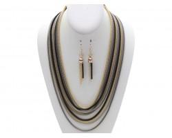 Black Gold Multi Strand Chain Necklace Set
