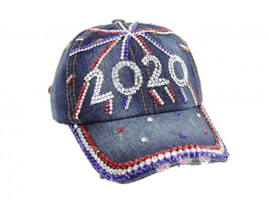 Red White Blue 2020 Crystal Blue Denim Ball Cap