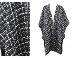 Black White Stripe Checker Pattern Poncho