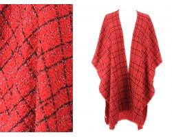 Red Black Stripe Checker Pattern Poncho