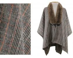 Brown Fur Collar Plaid Poncho