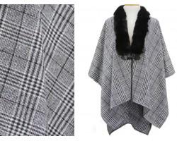 Gray Black Fur Collar Plaid Poncho
