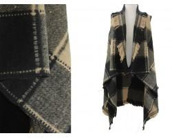 Brown Beige Plaid Pattern Sleeveless Cardigan