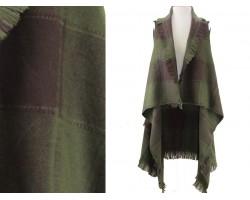Dark Green Plaid Pattern Sleeveless Cardigan