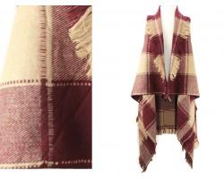 Maroon Beige Plaid Pattern Sleeveless Cardigan