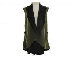 Green Velvet Sleeveless Vest