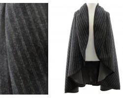 Dark Gray Stripe Pattern Poncho