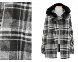 Black White Plaid Fur Hood Poncho
