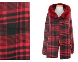 Red Black Plaid Fur Hood Poncho