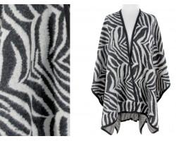 Black White Zebra Pattern Poncho