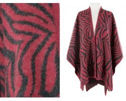 Maroon Black Zebra Pattern Poncho