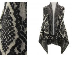 Gray Snakeskin Pattern Sleeveless Cardigan