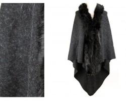 Black Fur Collar Plaid Poncho