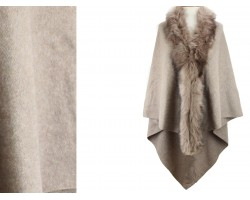 Light Brown Fur Collar Plaid Poncho