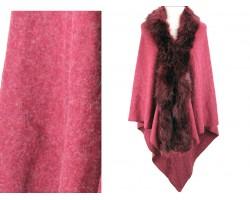 Maroon Fur Collar Plaid Poncho