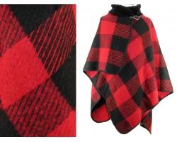 Red Black Plaid Buckle Poncho