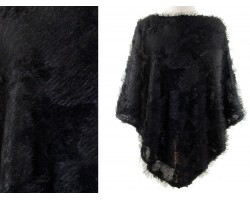 Black Fur Poncho