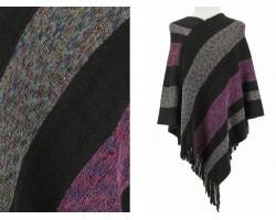 Black Blue Stripe Pattern Poncho