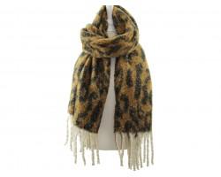 Brown Leopard Fringe Oblong Scarf