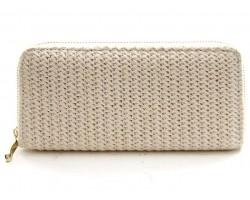 Beige Weave Pattern Zipper Wallet