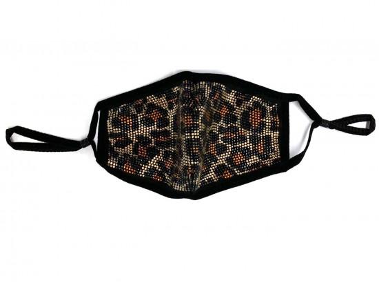 Leopard Brown Crystal Print Black Face Mask