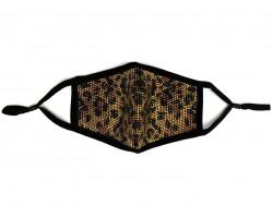 Leopard Golden Crystal Print Black Face Mask