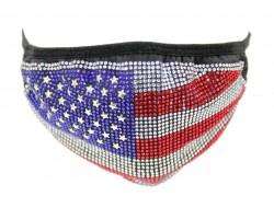 USA Flag Crystal Face Mask