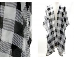 White Black Plaid Print Kimono