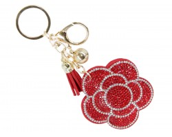 Red Crystal Flower Key Chain