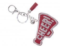 Red Crystal Cheer Megaphone Puffy Key Chain