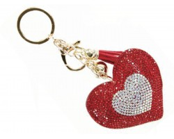Red Double Heart Crystal Tassel Puffy Keychain