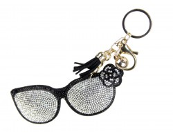 Clear Crystal Sunglasses Puffy Key Chain