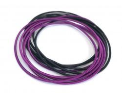 Purple Black Mix Guitar String Bracelet 10pc Set
