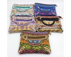 Assorted Color Aztec Tribal Zipper Handbag 6pk