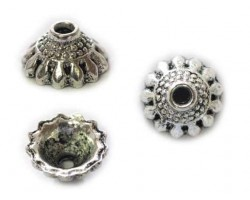 5x10mm Antique Silver Petal Domed Bead Cap