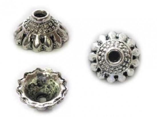 5x10mm Antique Silver Petal Domed Bead Cap