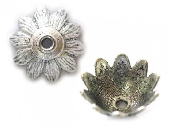 7x15mm Antique Silver 10 Petal Flower Bead Cap