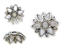 13mm 6 Point Floral Open Cutwork Bead Cap