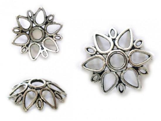 13mm 6 Point Floral Open Cutwork Bead Cap