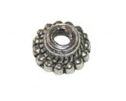 Antique Silver Bead Ridge Bead Cap