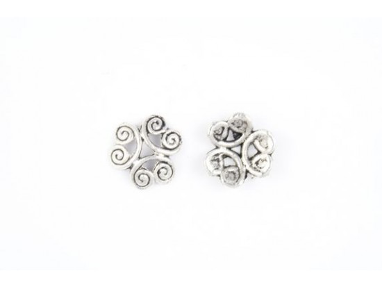 12mm Antique Silver Open Curled Swirl Bead Cap