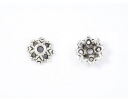 9mm Antique Silver Open Snowflake Bead Cap